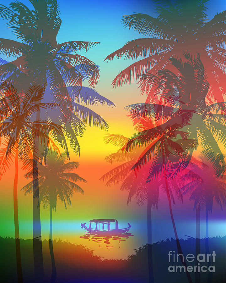 Palm Digital Art - Tropical Sunset On Palm Beach And by Yulianas