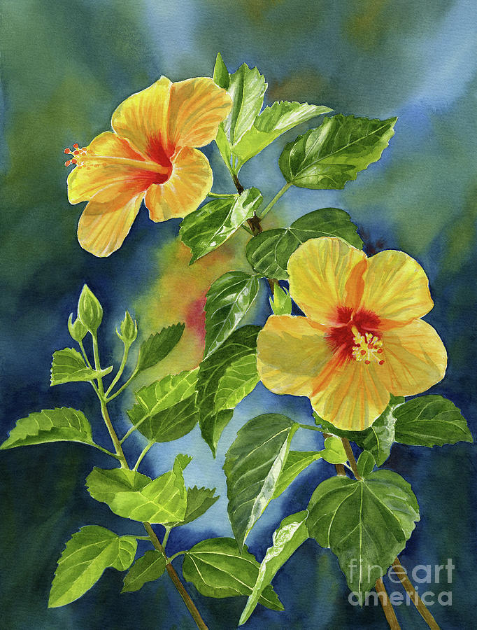 Tropical Painting - Tropical Yellow Orange Hibiscus With Background by Sharon Freeman