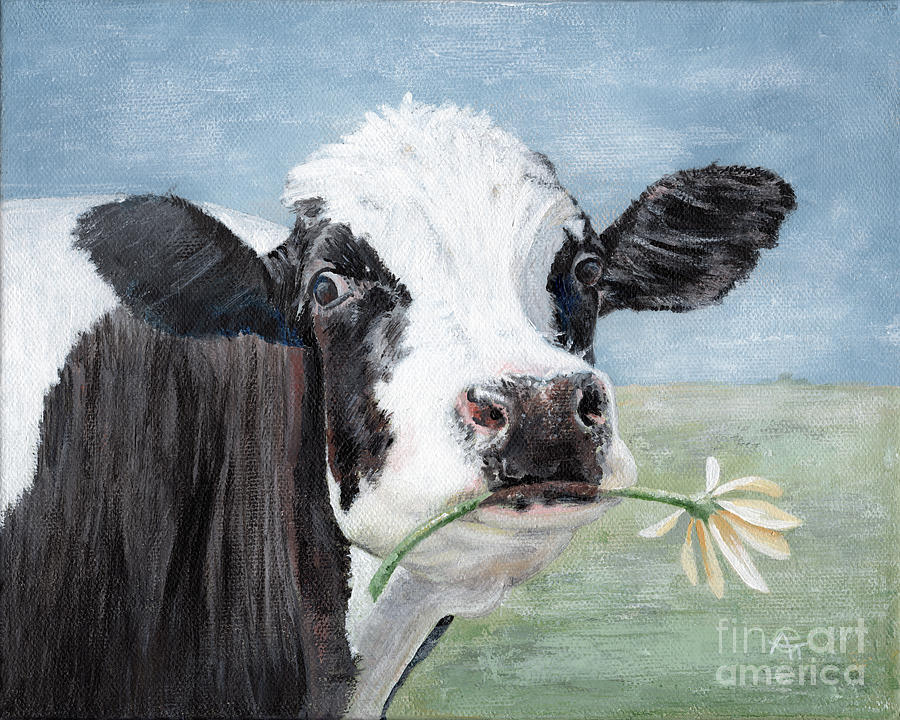 Trouble, Cow Painting by Annie Troe