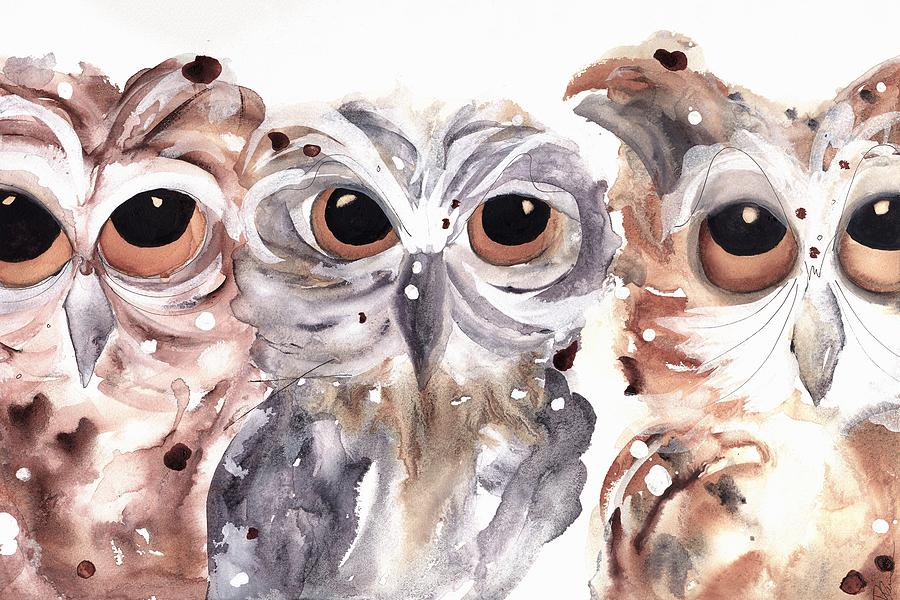 Owl Watercolor Painting - Trouble by Dawn Derman