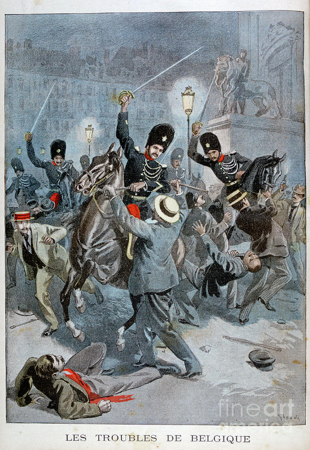 Trouble In Belgium, 1899. Artist Drawing by Print Collector