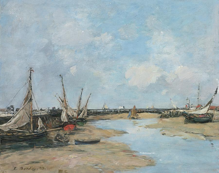 Trouville, The Jetties, Low Tide, 1888 Painting