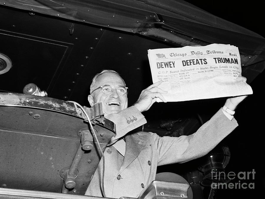 Truman Laughing Over Dewey Defeats Photograph by Bettmann