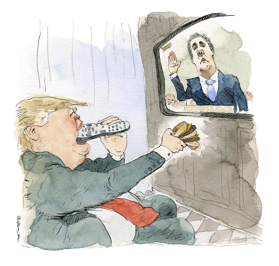Trump Bites Remote Painting by Barry Blitt