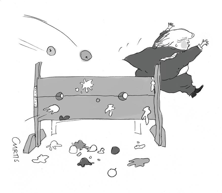 Trump Fleeing Drawing by Kate Curtis