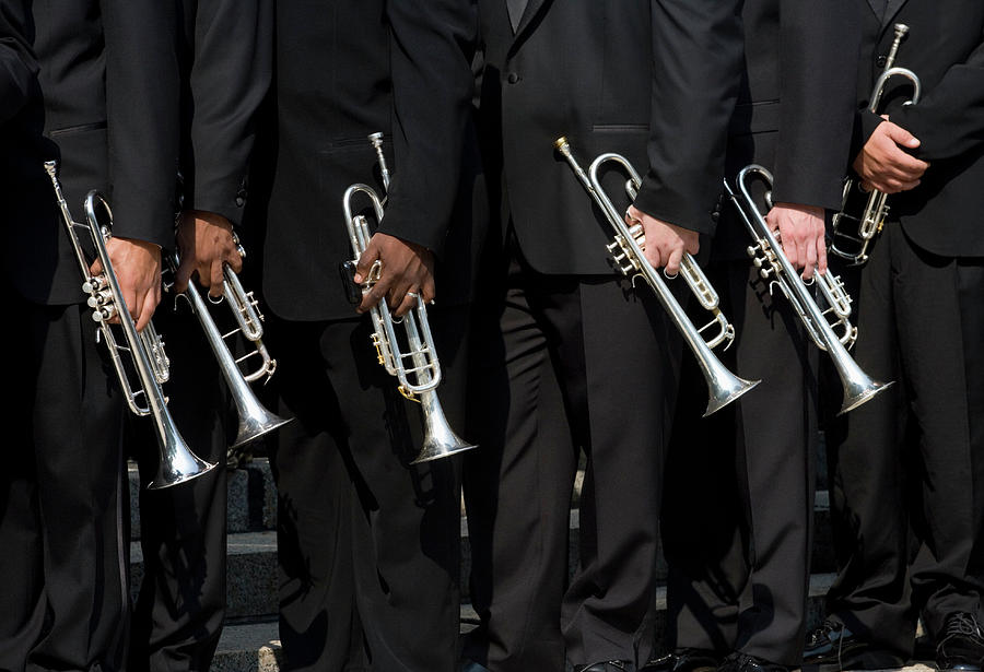 Trumpet Players In Dark Suits Photograph by Jonathan Kirn