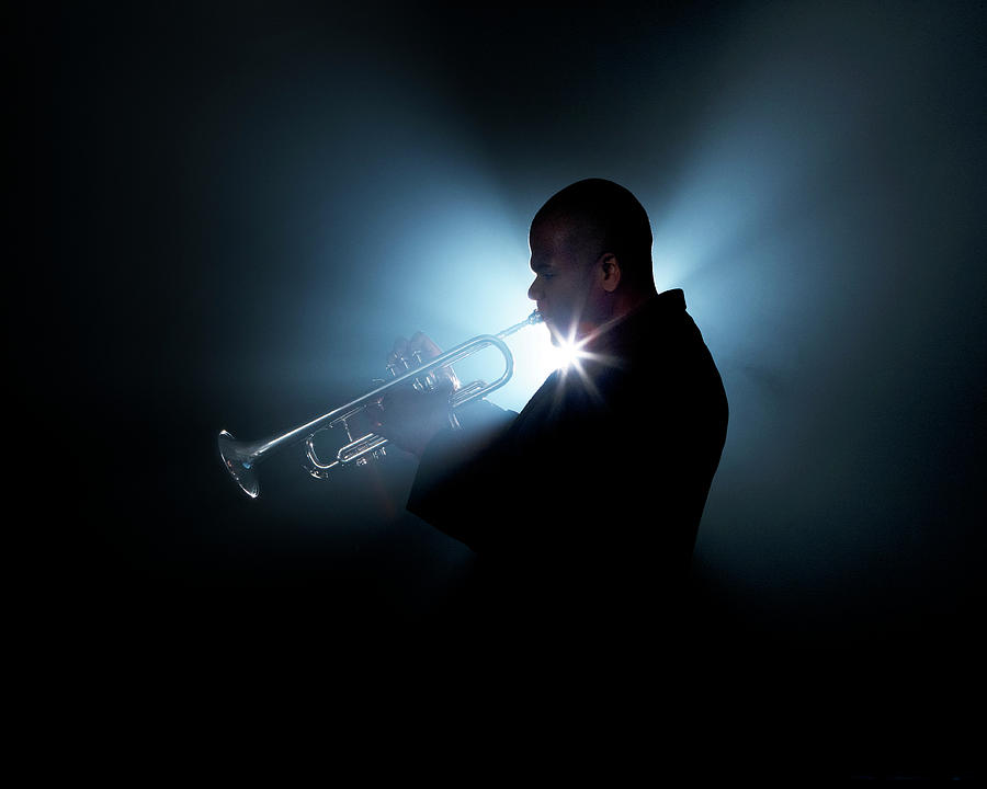 Trumpeter Playing Horn On Stage Photograph by Tooga