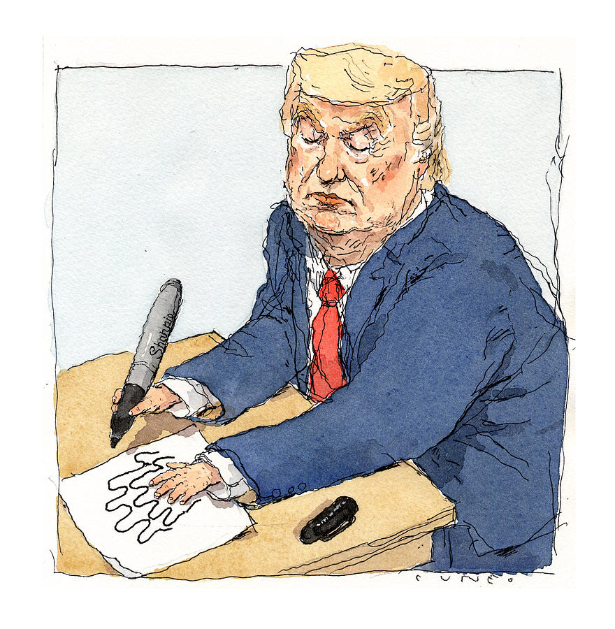 Trumps Shrinking Hand Painting by John Cuneo