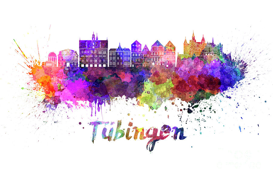 Tubingen skyline in watercolor splatters  by Pablo Romero