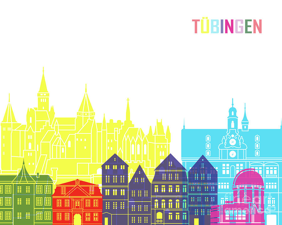Tubingen skyline pop in editable vector by Pablo Romero