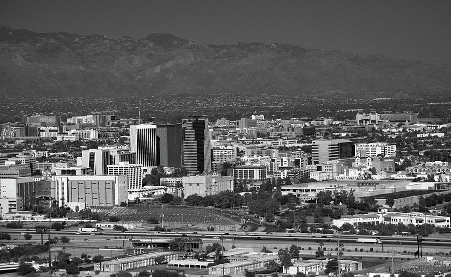 Tucson Skyline Black and White by Chance Kafka