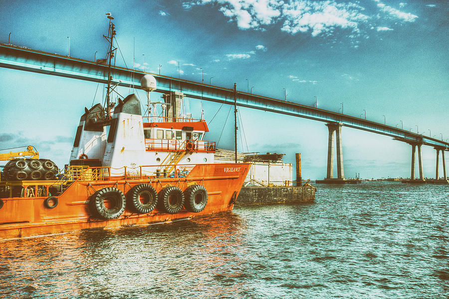 Tug Boat And the Coronado Bridge by Christopher Cutter