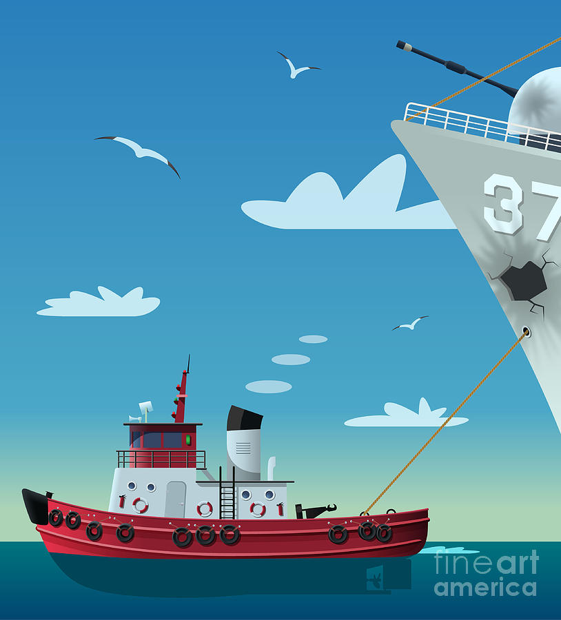 Towing Digital Art - Tugboat Pulling Damaged Navy Ship by Nikola Knezevic