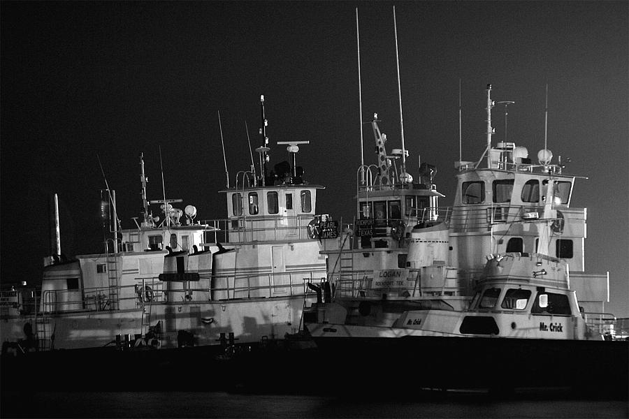 Tugs Photograph - Tugboats At Night by Edward Swearingen
