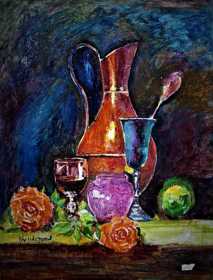 Still Life Painting - Tulip In Still Life by Khalid Saeed