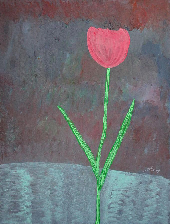 Tulip original painting by Sol Luckman