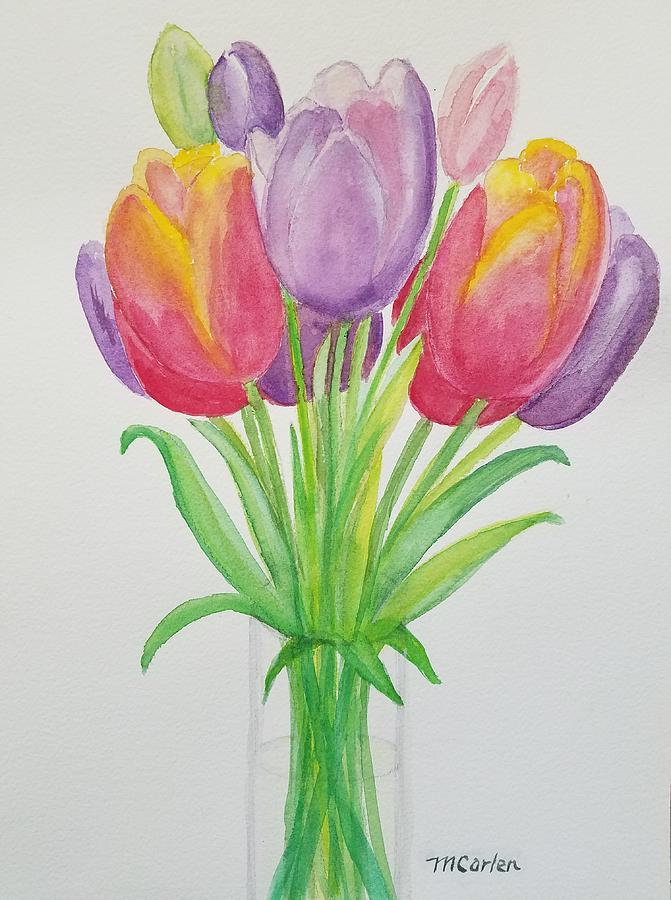 Tulips in a Vase by M Carlen