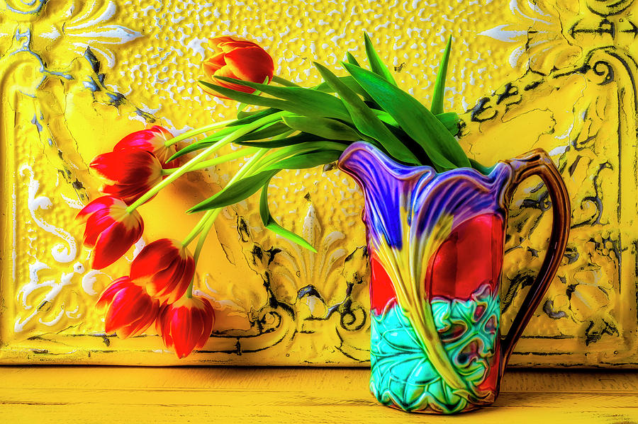Tulip Photograph - Tulips In Antique Pitcher by Garry Gay