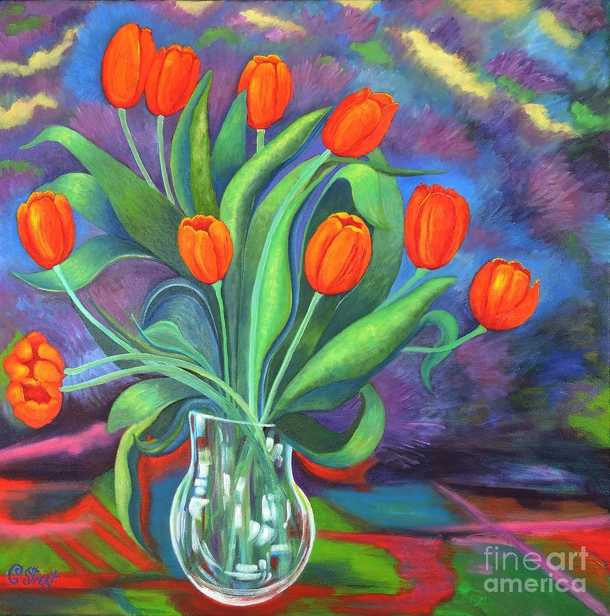 Tulips in Glass Vase by Caroline Street