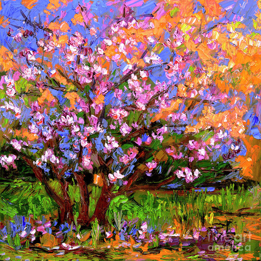 Tulips Magnolia Impressionist Oil Painting by Ginette Callaway