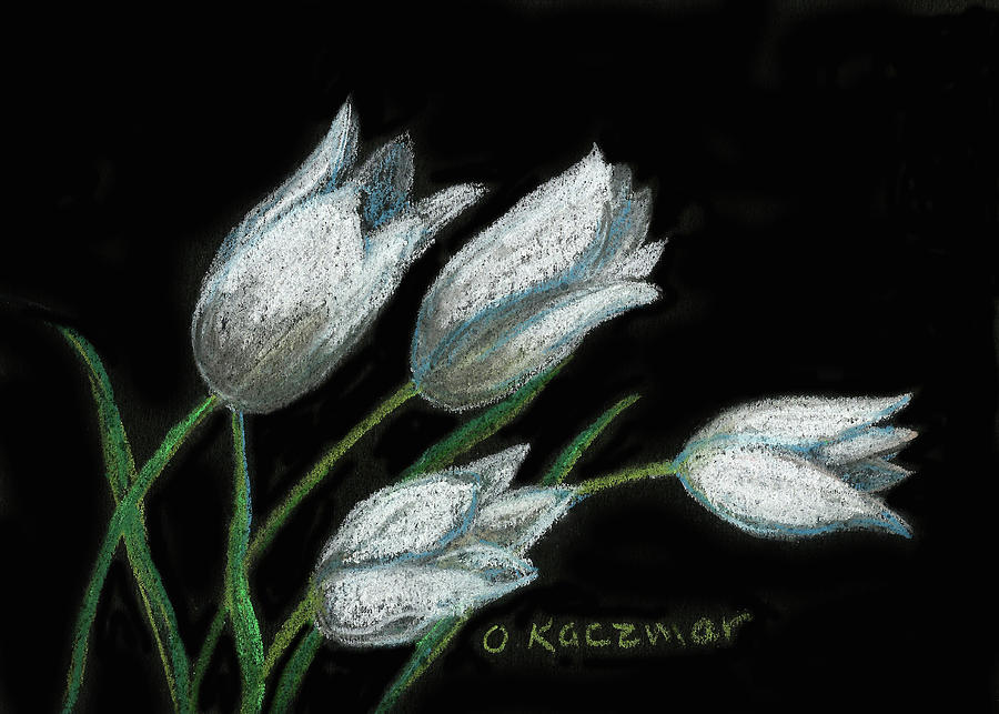 Tulips on Black by Olga Kaczmar