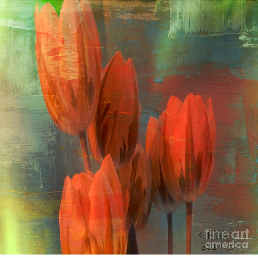 Flowers Digital Art - Tulips With Green Background by Karen Francis