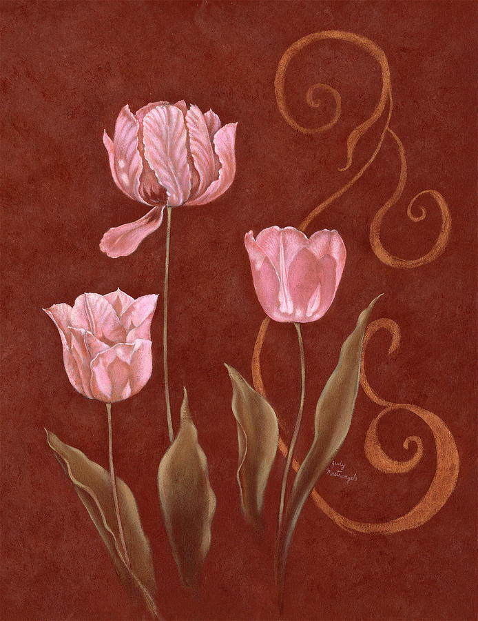 Flowers Digital Art - Tulips With Scroll 2 by Judy Mastrangelo
