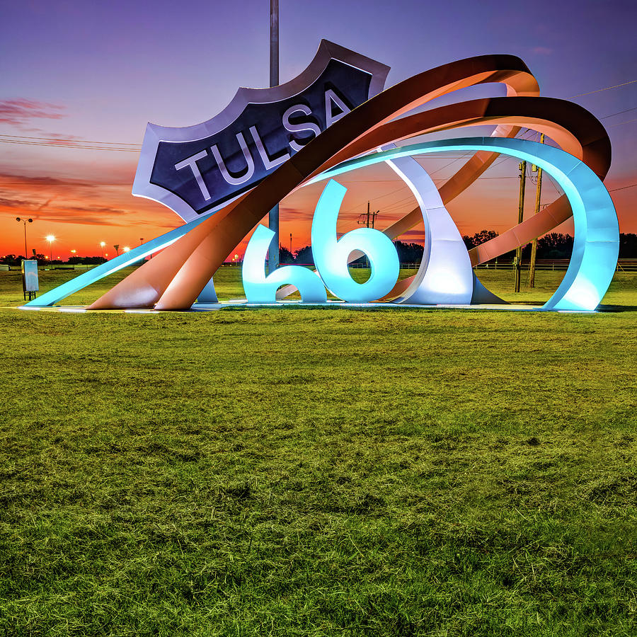 Tulsa Route 66 Rising Sculpture Landscape 1x1 by Gregory Ballos