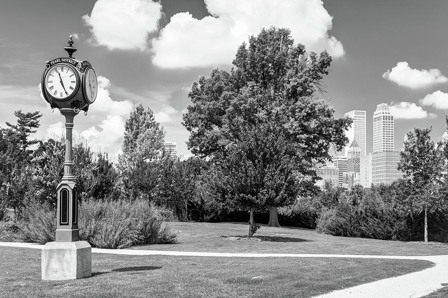 Tulsa Skyline And Centennial Park Clock - Black And White Photograph