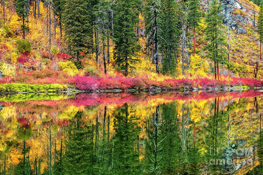 Tumwater Canyon Fall Reflection by Sonya Lang