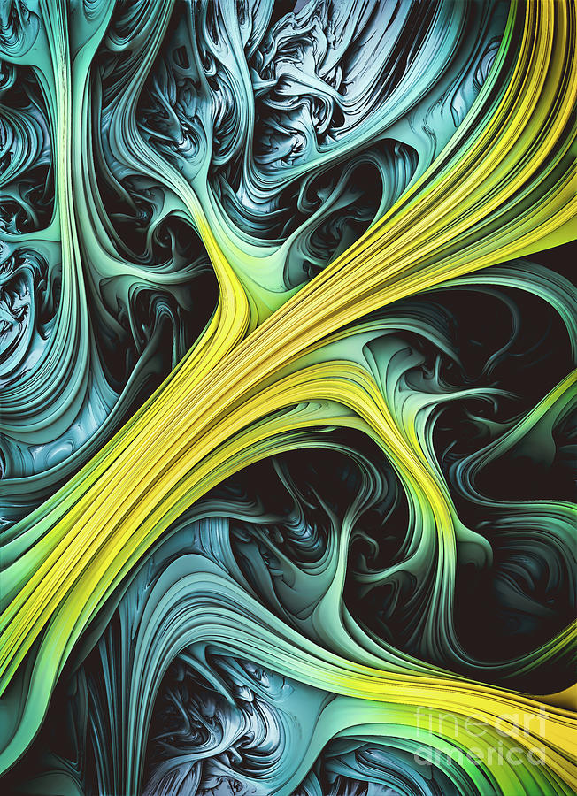 Tundara. Blue And Yellow Abstract  by Stephen Geisel