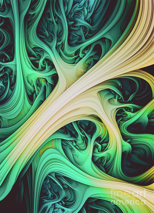 Tundara. Green And Yellow Abstract Art by Stephen Geisel