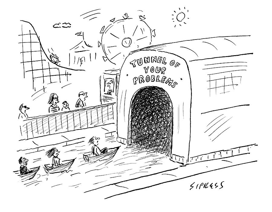 Tunnel Of Problems Drawing by David Sipress
