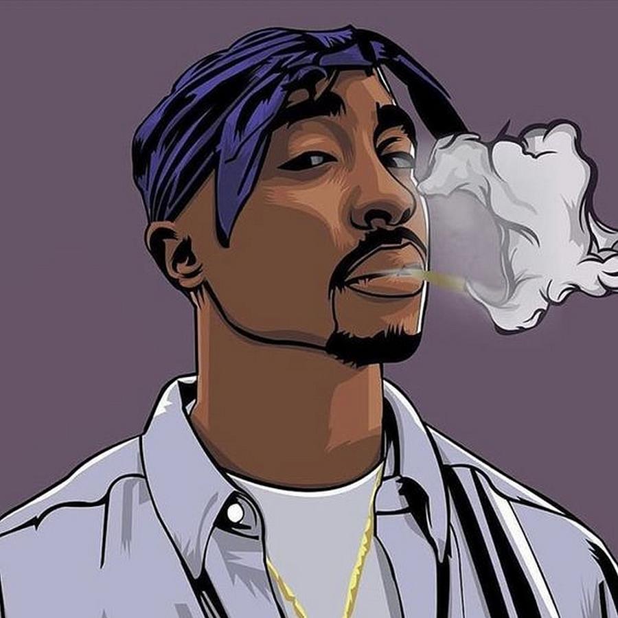 Tupac Smoking Drawing by Rad Brat