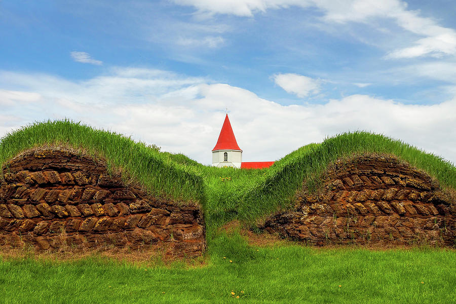 Turf House and Steeple - Iceland by Marla Craven