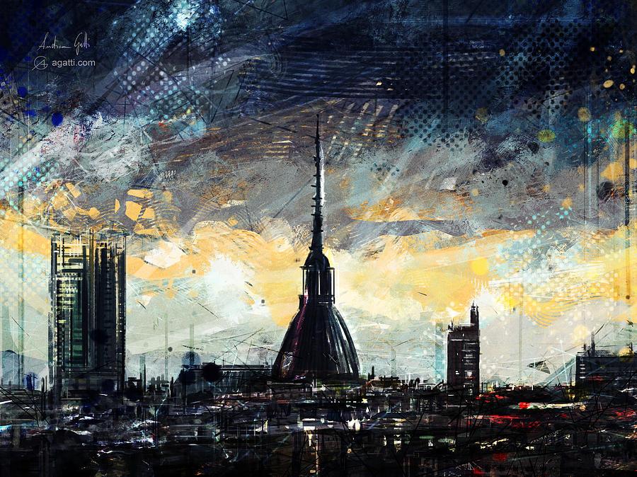 Turin Dark Skyline Digital Art