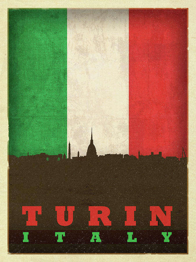 Turin Mixed Media - Turin Italy City Skyline Flag by Design Turnpike