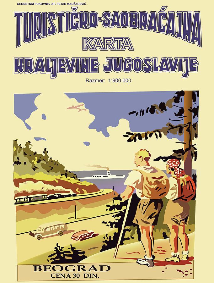 Turisticko Saobracajna Karta Kraljevine Jugoslavije Digital Art By