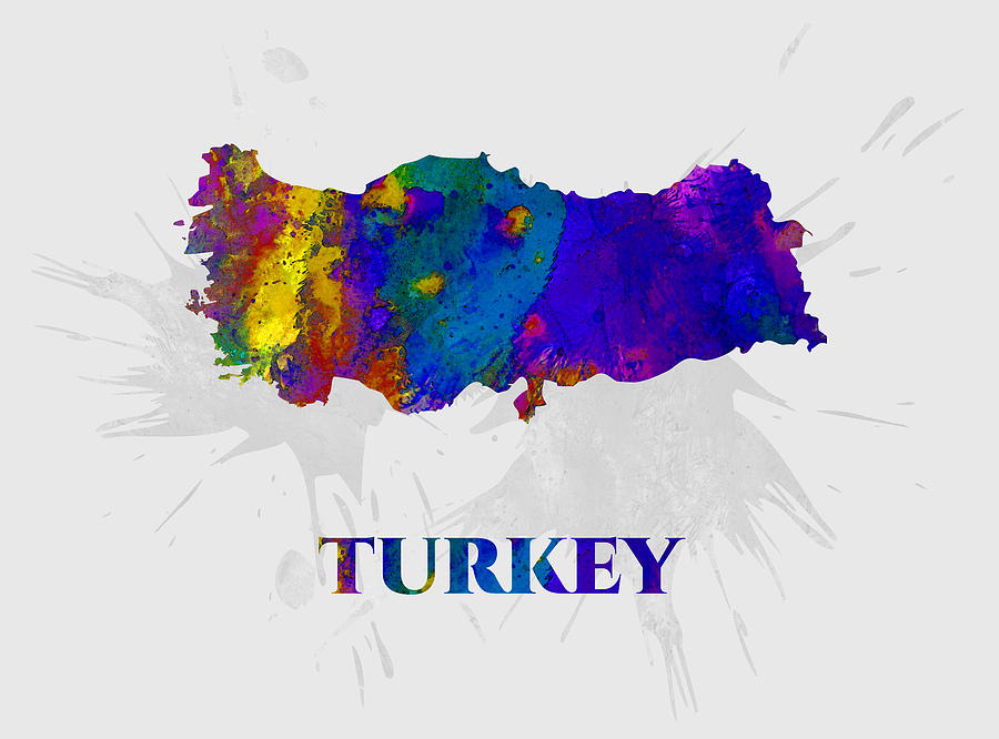 Turkey Mixed Media - Turkey, Map, Artist Singh by Artist Singh MAPS