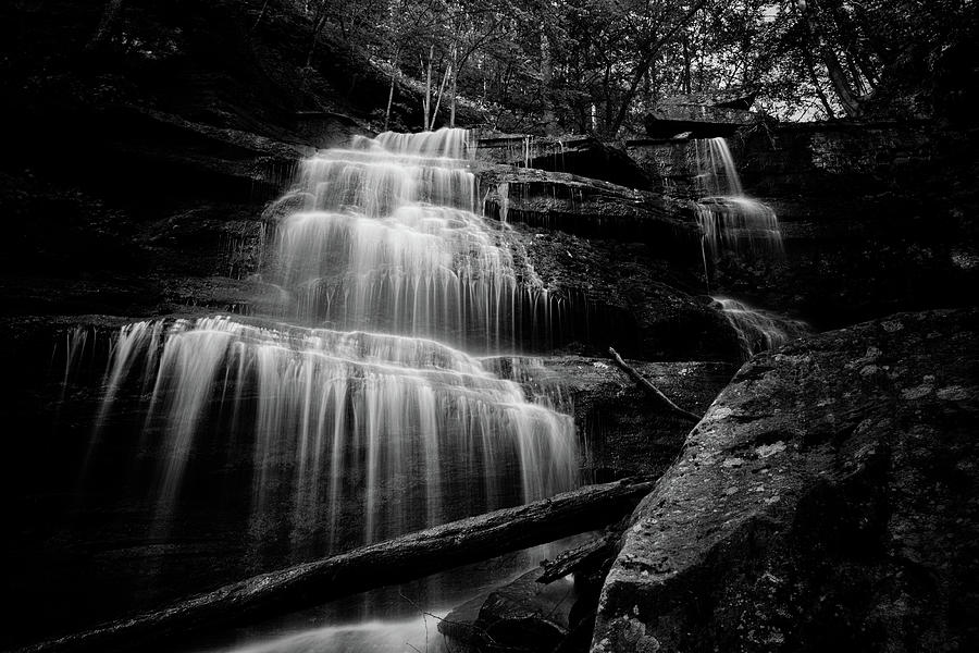 Turkey Path Waterfall BW by David Oakill