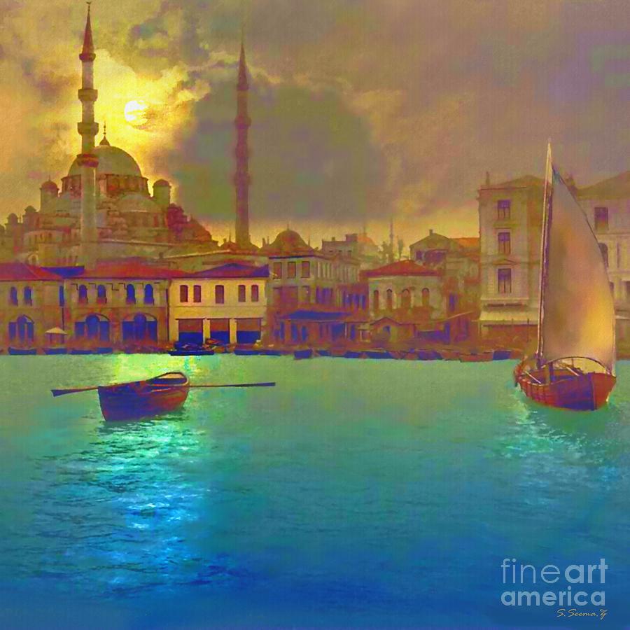Turkey Painting - Turkish Moonlight by Seemaz