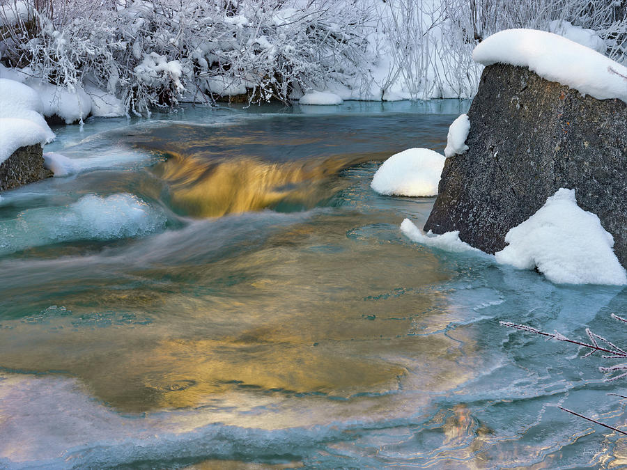 Nature Photograph - Turquoise And Gold Cascade by Leland D Howard