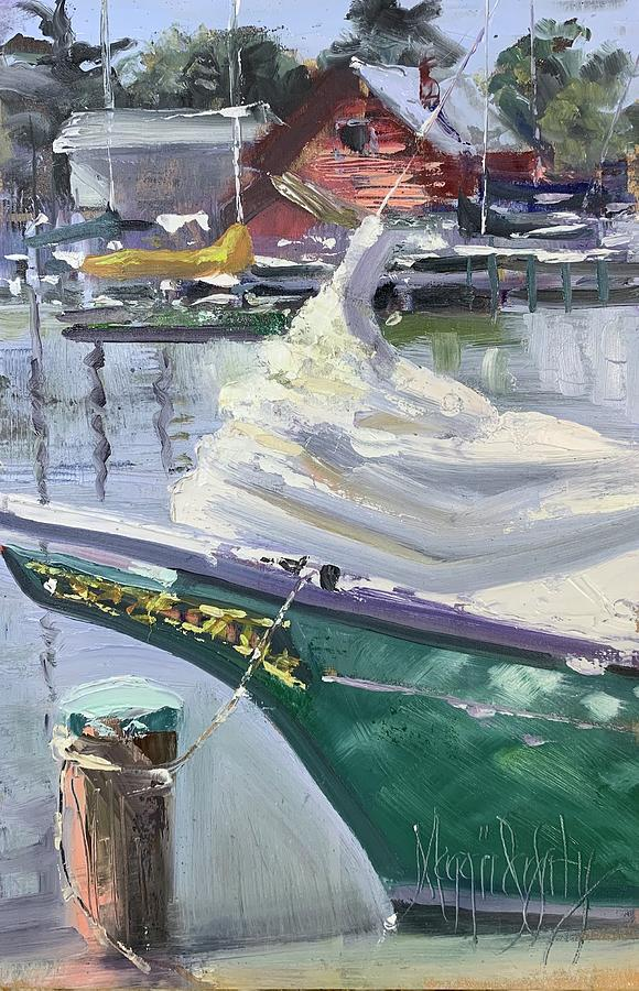 Skipjack Painting - Turquoise Hull  by Maggii Sarfaty