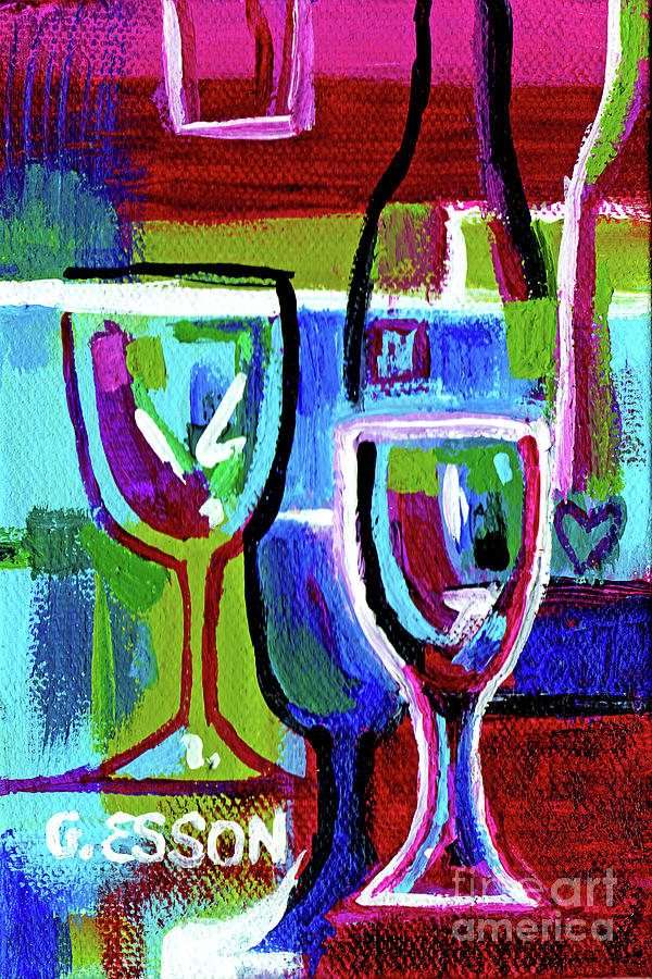 Turquoise Purple Wine Abstract by Genevieve Esson