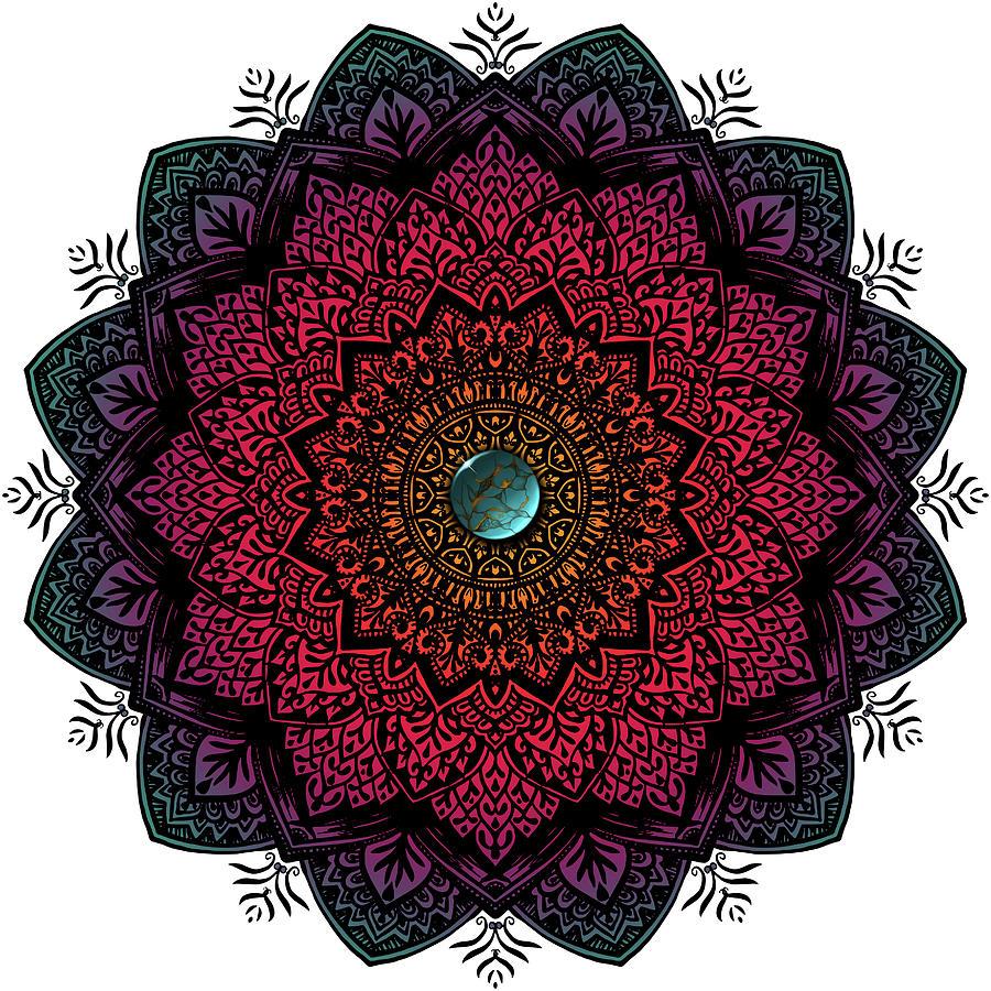 Mandala Mixed Media - Turquoise Stone Coloured Mandala by Delyth Angharad