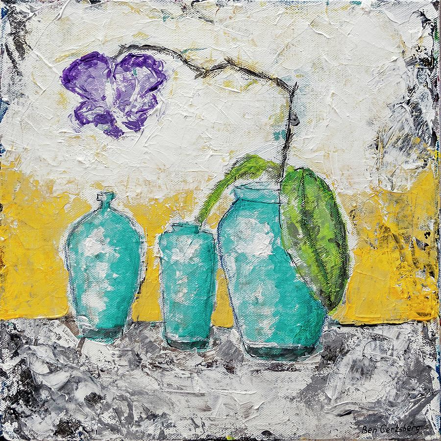 Turquoise Vases And Purple Orchid Still Life Painting