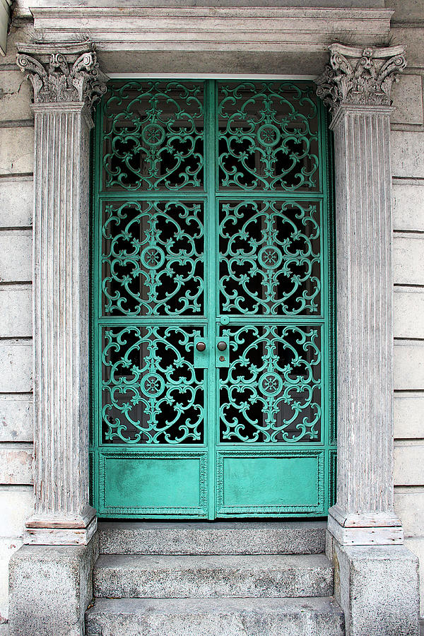 Turquoise Wrought Iron Doorway Gate by Debi Dalio