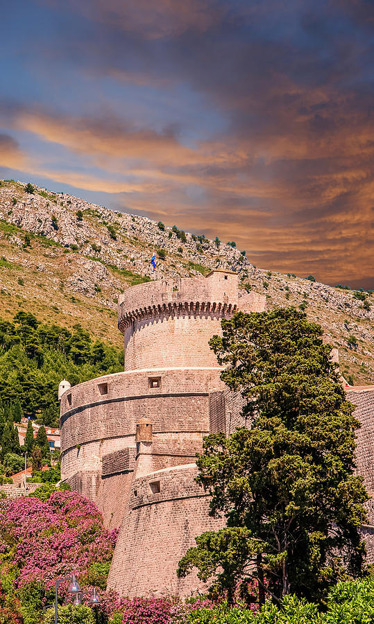Turret and Walls of Old Dubrovnik by Darryl Brooks