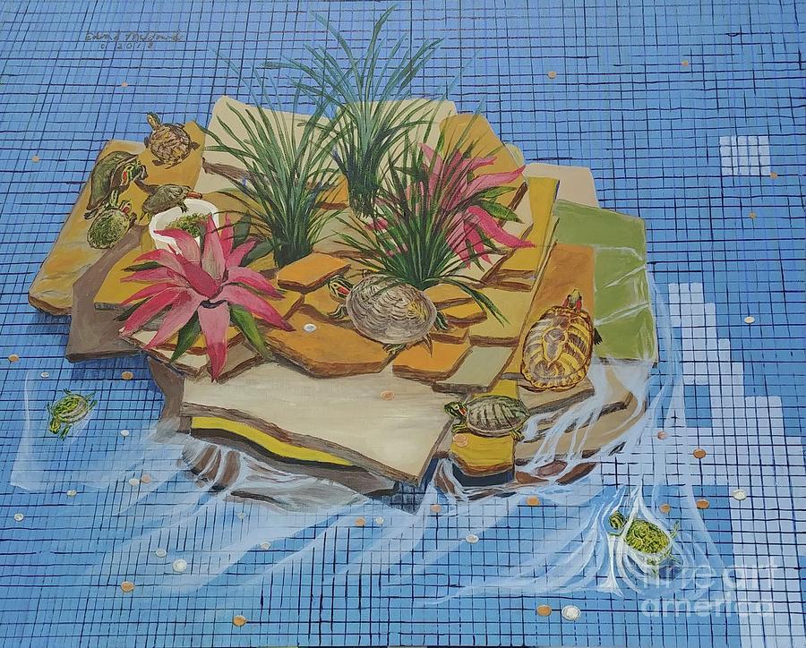 Turtles Painting - Turtles At The Mall by Edward Maldonado