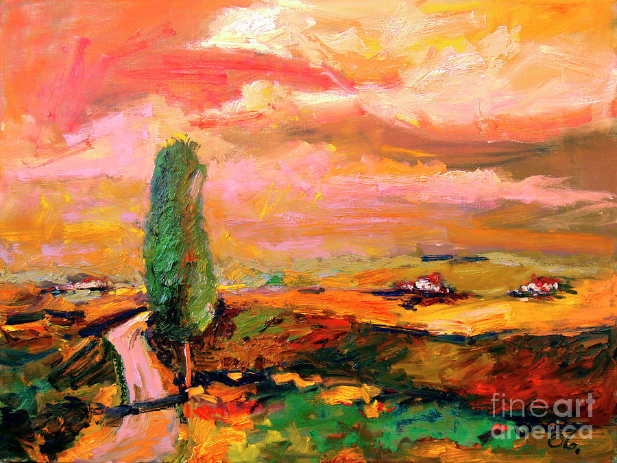 Tusany Summer Heat Impressionist oil Painting by Ginette Callaway